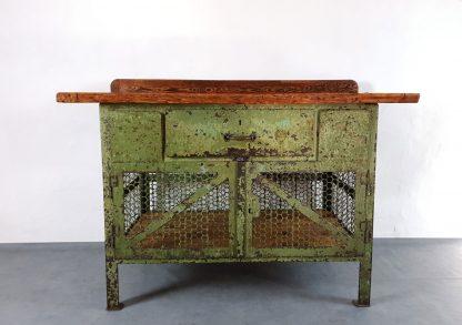 Vintage Werkbank Stahl Holz Kombi