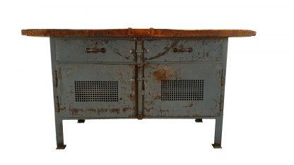Graue Vintage Werkbank aus Stahl und Holz